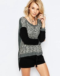 Vintage Havana Gray Marl Sweater With Contrast Sleeves And Fly Back Greyblack