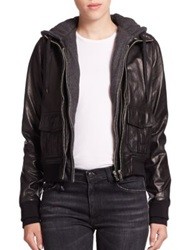 R 13 Layered Jersey Hood Leather Bomber Jacket Black