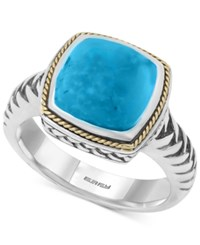 Effy Collection Turquesa By Effy Manufactured Turquoise Statement Ring 4 3 8 Ct. T.W. In Sterling Silver And 18K Gold Blue