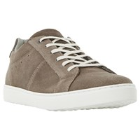 Dune Twister Sleek Suede Cupsole Trainers Taupe