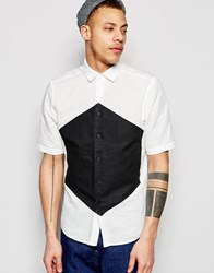 Asos Printed Shirt In Black With Half Sleeve In Regular Fit White