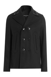 Valentino Wool Jacket With Rockstuds Black