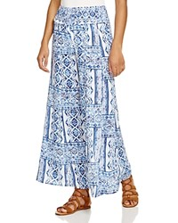 Surf Gypsy Wide Leg Swim Cover Up Pants Blue White