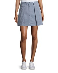 T By Alexander Wang Oxford Cotton Pleated Mini Skirt Size 6 Salt Pepper