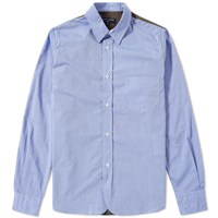 Cdg Homme Comme Des Garcons Canvas Insert Chambray Shirt Blue