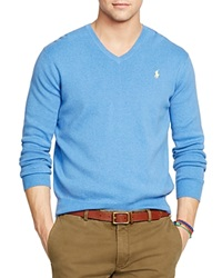 Polo Ralph Lauren Pima V Neck Sweater Pale Royal Heather