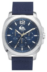 Men's Quiksilver 'The Drifter' Multifunction Woven Strap Watch 43Mm Blue