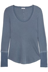 Splendid Nordic Waffle Knit Stretch Supima Cotton And Micro Modal Blend Top Petrol