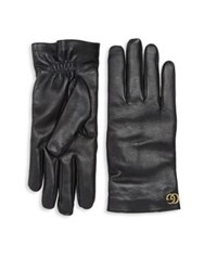 Gucci Cashmere And Leather Gloves Black