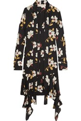 Marni Floral Print Silk Georgette Midi Dress Black