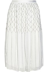 Needle And Thread Grid Bead Embellished Chiffon Skirt White