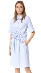 Victoria Beckham Ruffle Waist Shirt Dress Blue Stripe