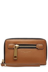 Marc Jacobs Leather Gotham Zip Phone Wristlet Brown