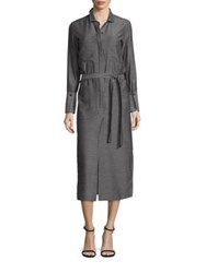 Halston Tie Front Heathered Shirt Dress Heather Charcoal