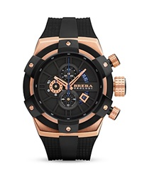 Brera Orologi Supersportivo 14K Rose Gold And Black Ionic Plated Stainless Steel Watch With Black Rubber Strap 48Mm