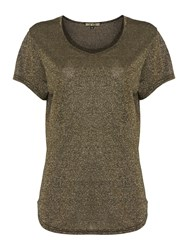 Biba Metallic Relaxed T Shirt Gold
