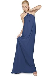 Women's Ceremony By Joanna August 'Casey' Twist Neck Chiffon A Line Gown Tangled Up In Blue