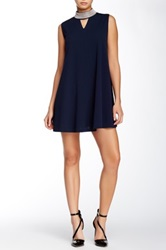 Gracia Studded Neck Tunic Dress Blue