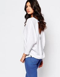 Replay Open Back Jersey Top White