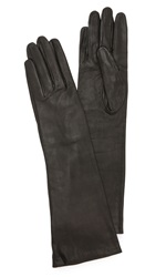 Carolina Amato Long Leather Gloves Black