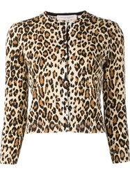 Carolina Herrera Cheetah Print Cardigan Brown
