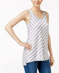 Kensie Bias Cut Striped Tank Top Heather Grey Combo