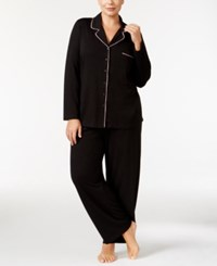 Alfani Plus Size Notch Collar Knit Pajama Set Only At Macy's Black