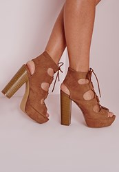 Missguided Lace Up 70'S Platform Sandals Tan Brown