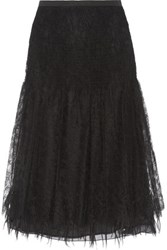 Rochas Paneled Silk Lace And Twill Midi Skirt Black