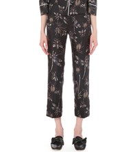 F.R.S. For Restless Sleepers Insect Print Straight Cropped Silk Trousers Black White Insects