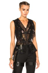 Alexander Mcqueen Sleeveless Top In Black Floral Black Floral