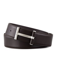 Tom Ford Men's Leather T Buckle Belt Brown Brown 32In 80Cm