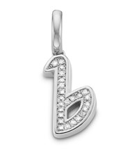 Monica Vinader Sterling Silver Diamond B Pendant Female