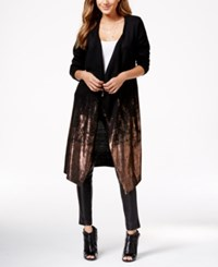 Material Girl Juniors' Long Foil Print Cardigan Sweater Only At Macy's Caviar Black