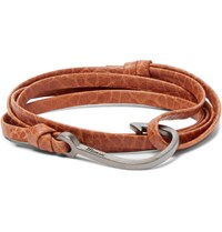 Miansai Snake Effect Leather And Rhodium Plated Hook Wrap Bracelet Brown