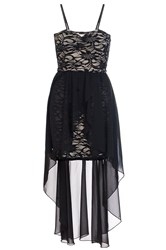 Quiz Black Lace Chiffon Dip Hem Dress Black