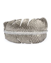 Rhodium Plated Silver And Diamond Feather Cuff Michael Aram