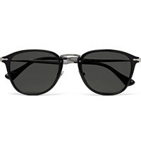 Persol Round Frame Acetate Sunglasses Black