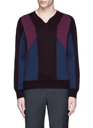 Canali Panelled Colourblock Wool Knit Sweater Multi Colour
