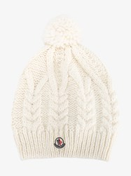 Moncler Wool Alpaca Blend Pompom Beanie Cream Blue Denim