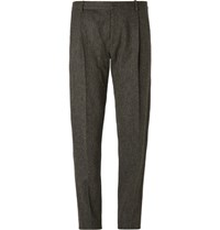 Chalayan Tapered Herringbone Wool Trousers Gray