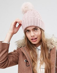 Asos Cable Faux Fur Pom Beanie Pink