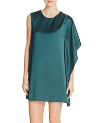 French Connection Sasha Satin Asymmetric Dress Pine Forest Green