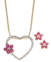Victoria Townsend 18K Gold Over Sterling Silver Set Ruby 1 Ct. T.W. And Diamond Accent Flower Heart Pendant And Stud Earrings