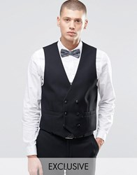 Farah Skinny Tuxedo Double Breasted Waistcoat Black Navy