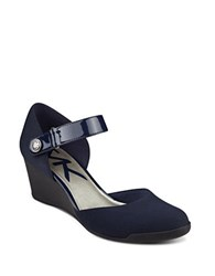 Anne Klein Tasha Mary Jane Wedges Navy Blue