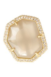 Vince Camuto Pave Border Stone Ring Size 7 Beige