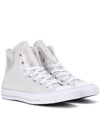 Converse Chuck Taylor All Star Stingray High Top Leather Sneakers Silver