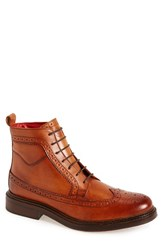 Base London Men's 'Manby' Wingtip Leather Boot Tan Leather