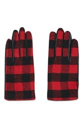Topshop Check Leather Gloves Red